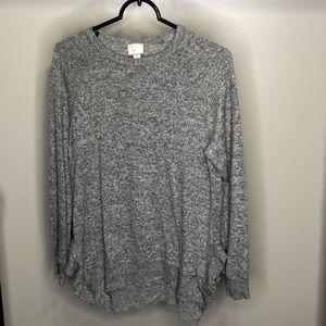 Anthropologie Gray Crew Neck Ruffled Sweater